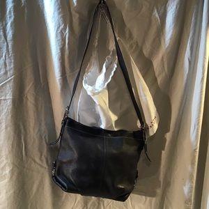 Coach black leather shoulder bag, EUC, Duffle